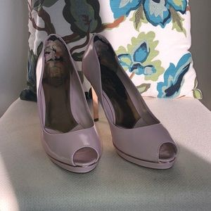 Ted Baker 40 pink open toe rose gold foil heel
